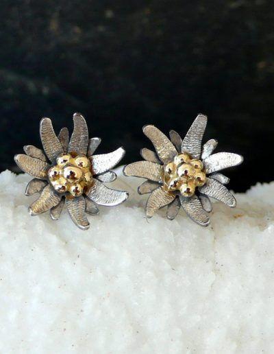 Pendientes edelweiss en oro blanco y amarillo