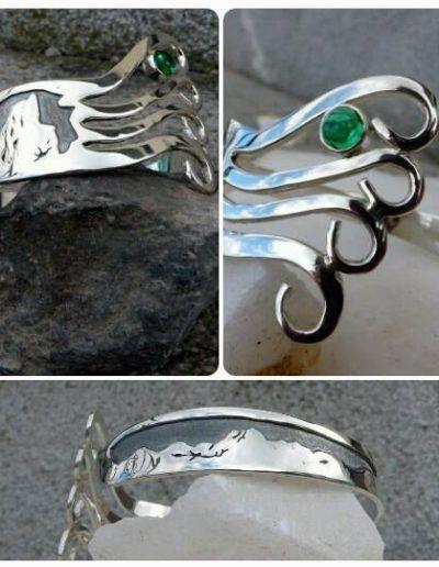 brazalete tenedor con picos de europa con detalle del urriellu y crisopas engastado