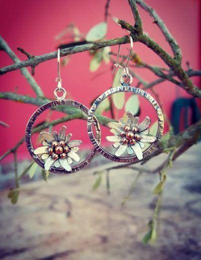 pendientes edelweiss con aro