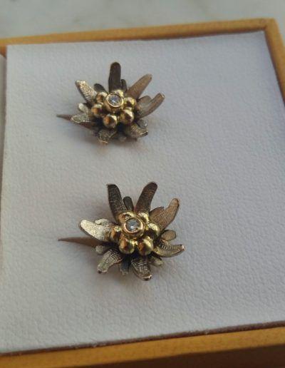 pendientes edelweiss con brillante engastado