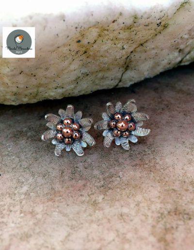 pendientes flor edelweiss en plata y centro en cobre