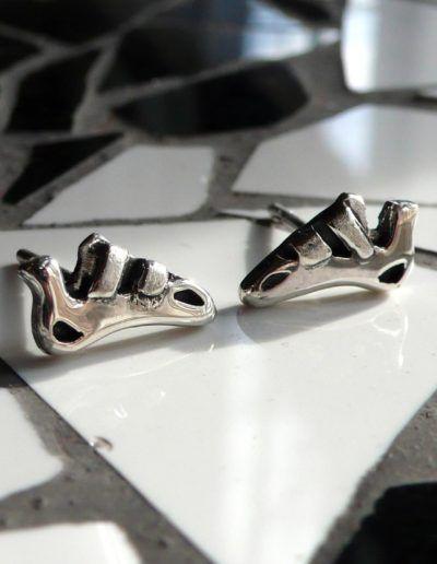 pendientes pies de gato plata