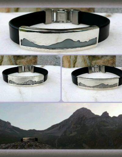 pulsera en plata y cuero con perfil de las ubiñas (asturias)