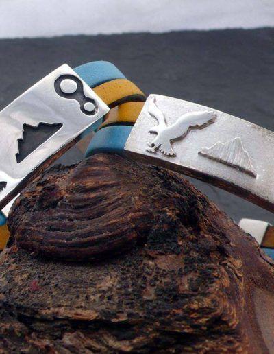 pulsera personalizada de plata y 2 cueros